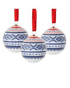 Julekuler 3 stk Blå/Rød