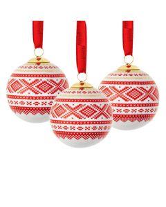 Julekuler 3 stk Rød/Gull